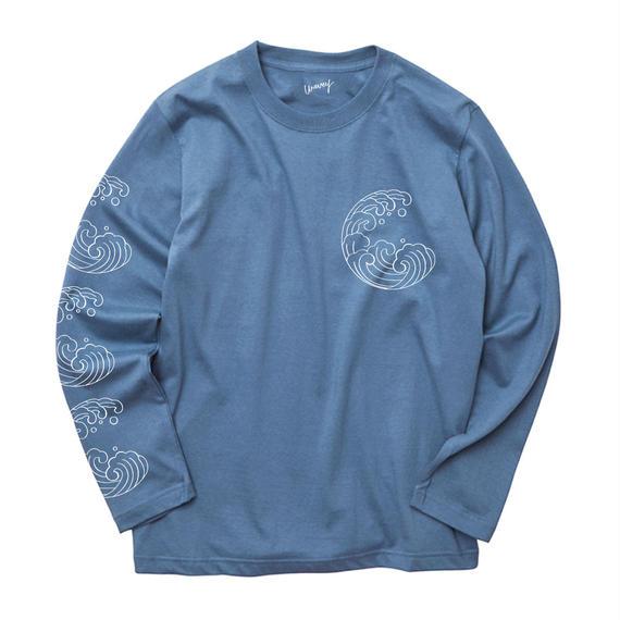 WAVES long sleeves tee -BLUE-