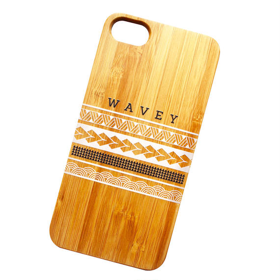 【iPhone 8, 8Plus対応】Wavey Iāpana x Hawai'i bamboo case