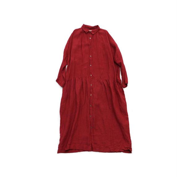 ICHI Antiquites / リネン ギャザー シャツ ワンピース