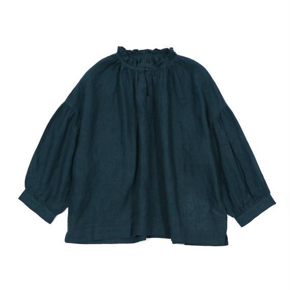 blue willow / リネンフリル襟ブラウス