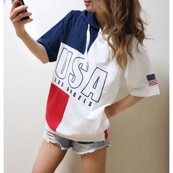 USAパーカーTシャツ【RED】