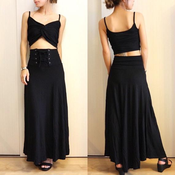 ツイストキャミ&レースアップスカートSET【BLACK】