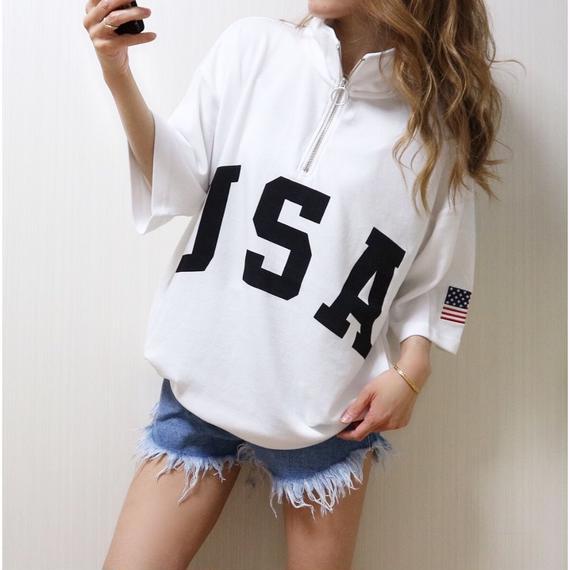 USAハーフZIP BIG Tシャツ【WHITE】