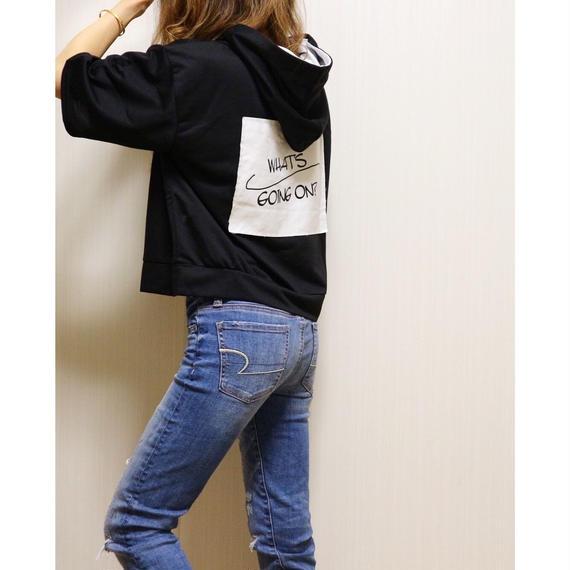バックプリントレースアップパーカーTシャツ【BLACK】