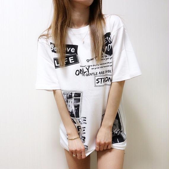 BIGシルエットワッペンプリントTシャツ【WHITE】