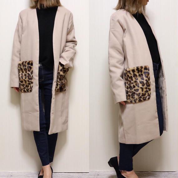 レオパードファーポケットコート