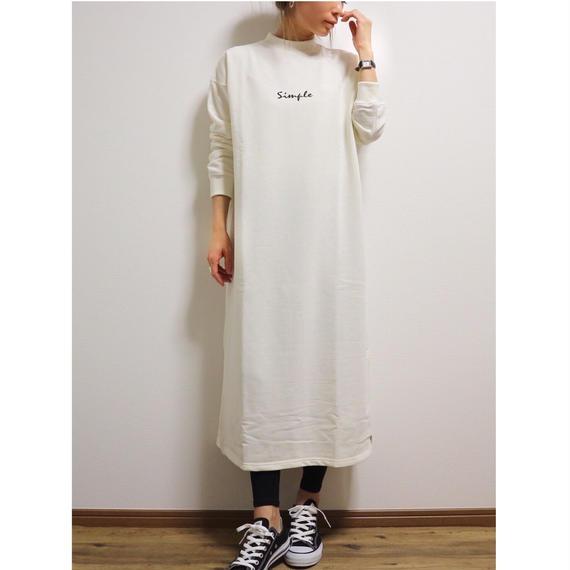 ロゴ刺繍スウェットワンピース【WHITE】