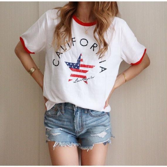 星条旗リンガーTシャツ【WHITE×RED】