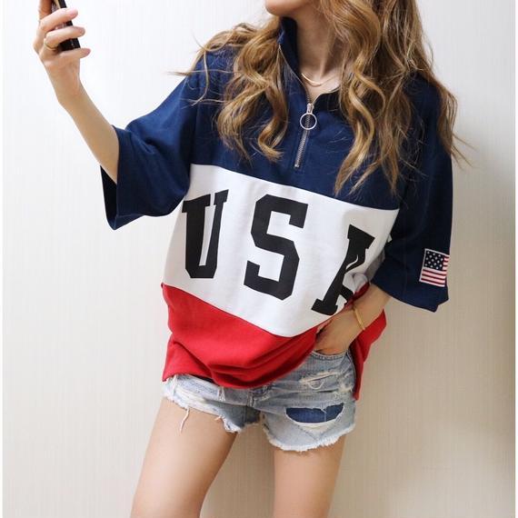 USAハーフZIP BIG Tシャツ【RED】