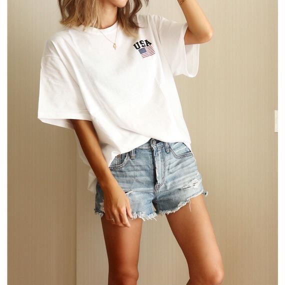 USAラウンドネックTシャツ【WHITE】