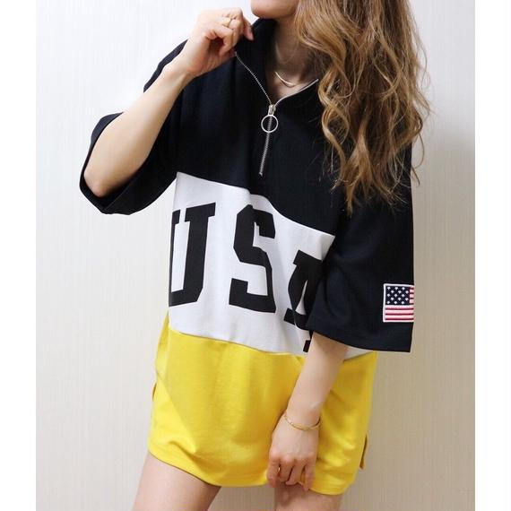 USAハーフZIP BIG Tシャツ【YELLOW】