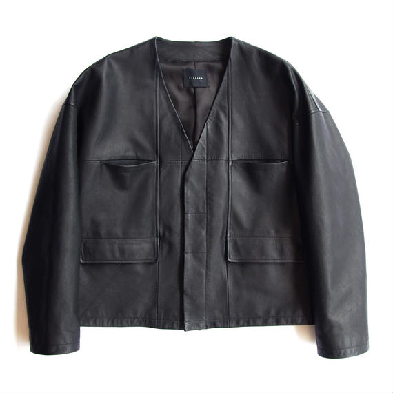 NO COLLAR LEATHER BLOUSON