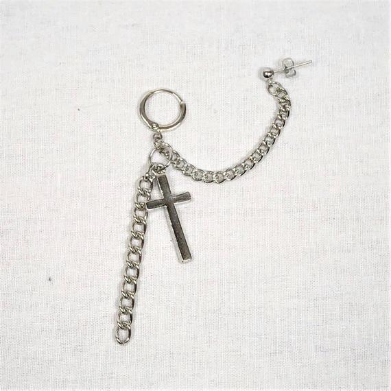 予約注文受付10/29-11/8[Hand made]Cross Chain Double Earrings