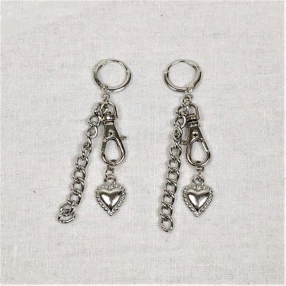予約注文受付10/29-11/8[Hand made]Chain Swivel Hook Heart Earrings