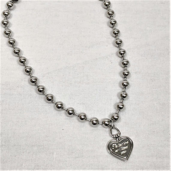 予約注文受付11/26-12/22[Hand made]Surgical Ball Chain Heart Necklace