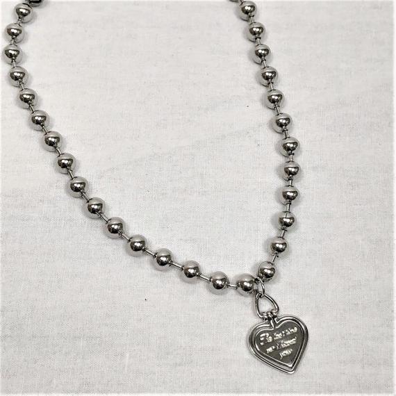 予約注文受付10/29-11/8[Hand made]Surgical Ball Chain Heart Necklace