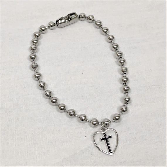 予約注文受付11/26-12/22[Hand made]Surgical Ball Chain Heart Cross Choker