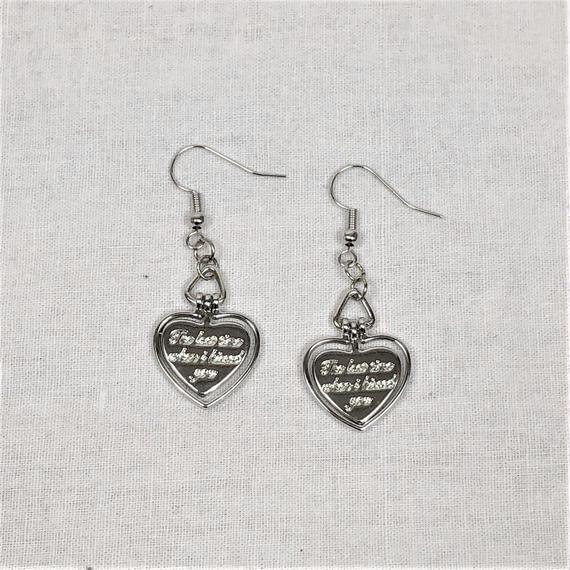予約注文受付10/29-11/8[Hand made]Heart Cross Chain Earrings  のコピー