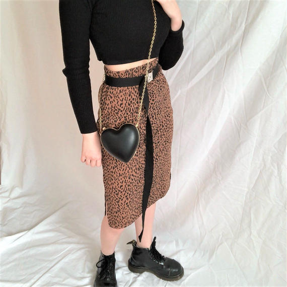 Leopard  Midiamu  Skirt