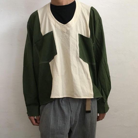 【ICHIRYU MADE】V NECK WIDE BOX SMOCK SHIRT ②