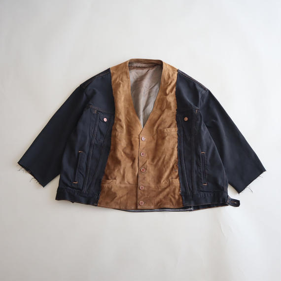 【ICHIRYU MADE】SUEDE LEATHER × LEVI'S BLACK DENIM JACKET ⑨
