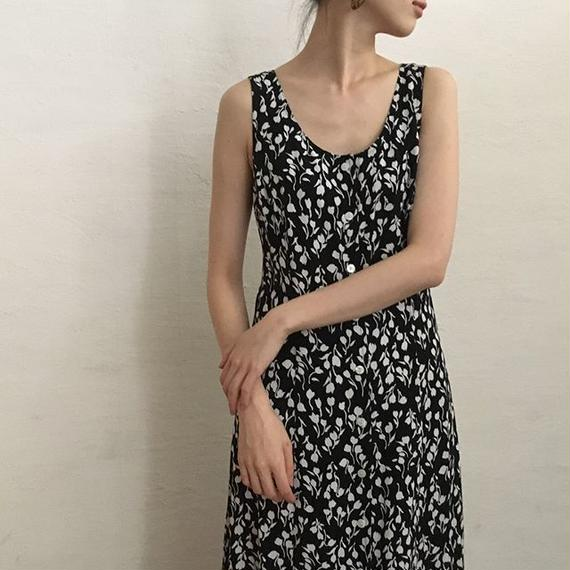 SLEEVELESS FLOWER RAYON MAXI DRESS