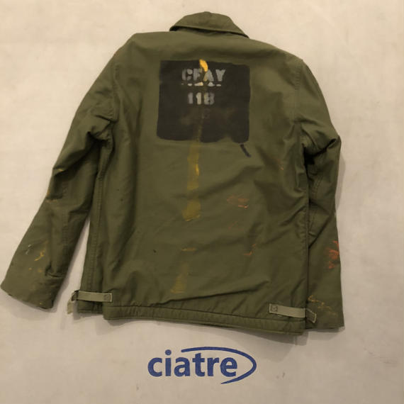 80s U.S.NAVY A-2 Deck Jacket Paint