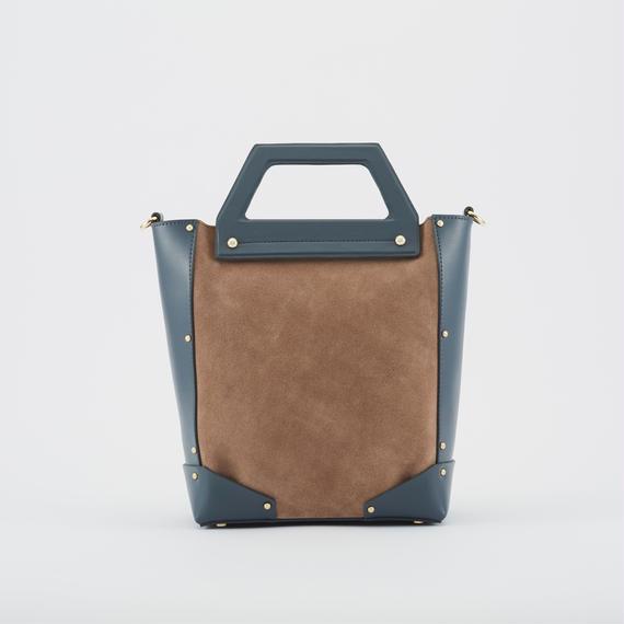 tov   SUEDE COMBI BAG S ブルー(#4-6-9710)