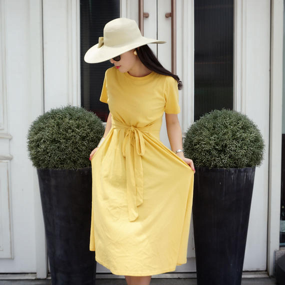 ウエストシェイプワンピース【レモン】