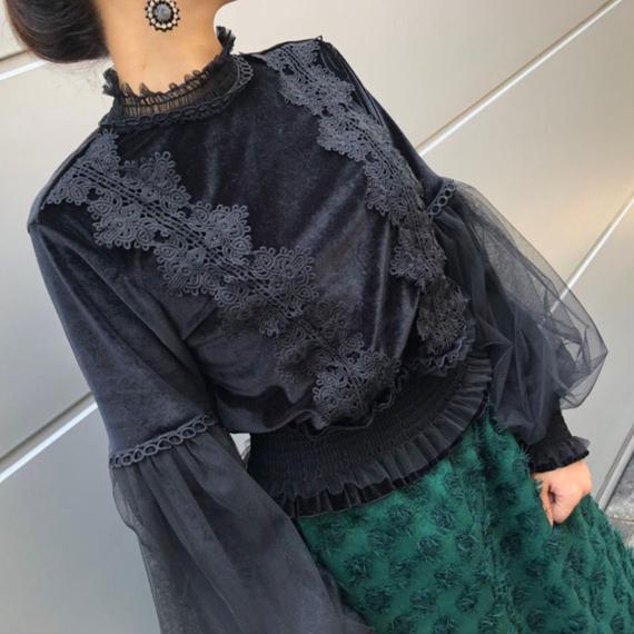 女王スリーブヴェルヴェットブラウス(ブラック)【寒い季節のお社交アイテム】
