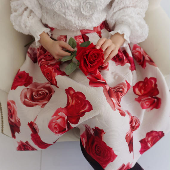 【ブティック仕様】ビッグローズジャガード織りスカート(ホワイト)【ワンランク上】