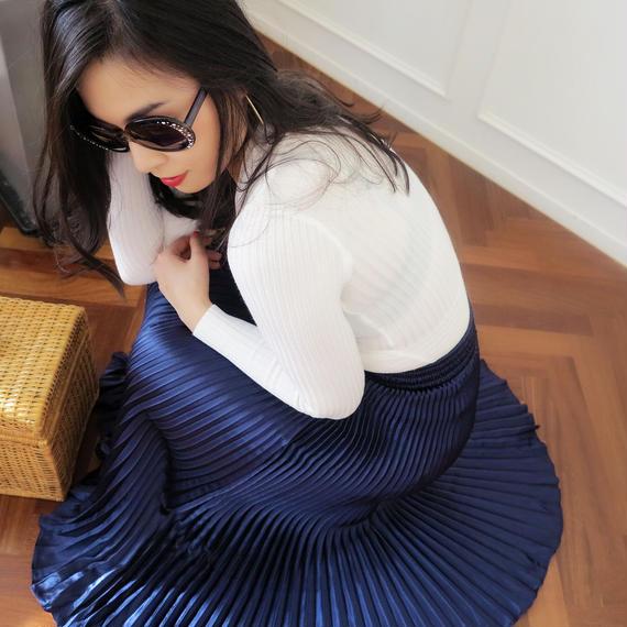 ドレスアップマジックプリーツスカート【ネイビー】