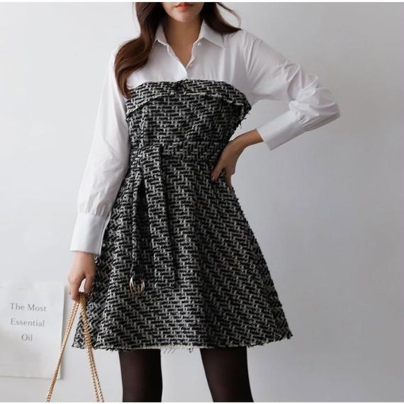 ◆高級感あり◆究極知的レディな切り替えツイードシャツドレス【ブティックライン】