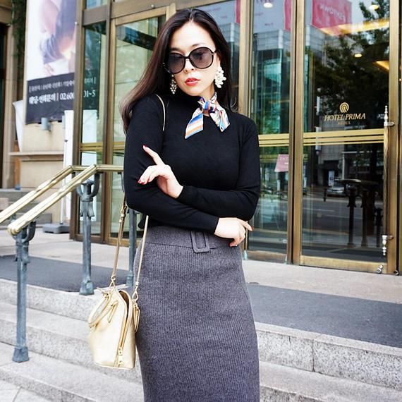 アンゴラニットの「いい女ライン」スタイルアップニットスカート【グレイ】★暖かくスタイルアップ★
