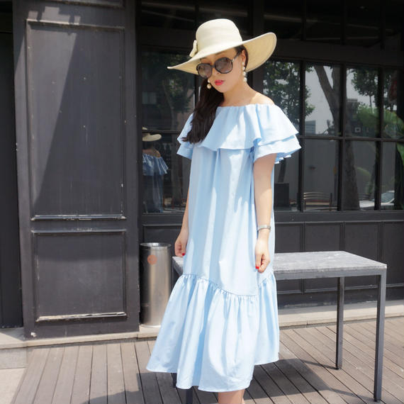 ★サラリシルキータッチ★リリーサマードレス【空色】