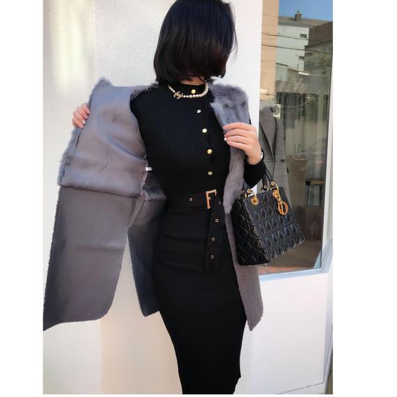 ◆ゴージャスアウターのインナーにオススメ◆いい女ニットドレス【ベルト付き】◆伸縮自在◆