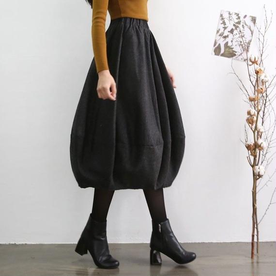 【ウエストゴム】バルーンウールスカート【5collar】