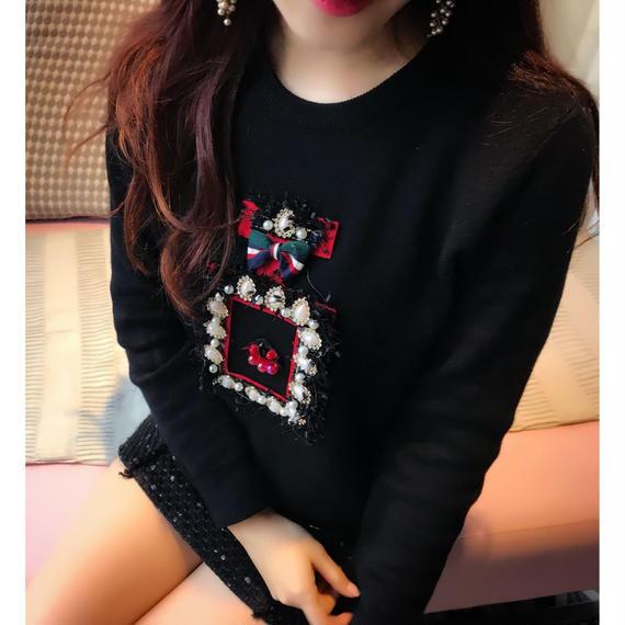 【香水デザインビジューでキラキラ】ギフトブライトリングセーター【何にでも合う最強ニット】