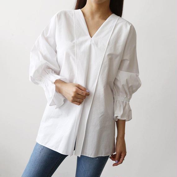 【日焼け対策ビューティーシャツ】Vラインシャツ【ウエストカバー】