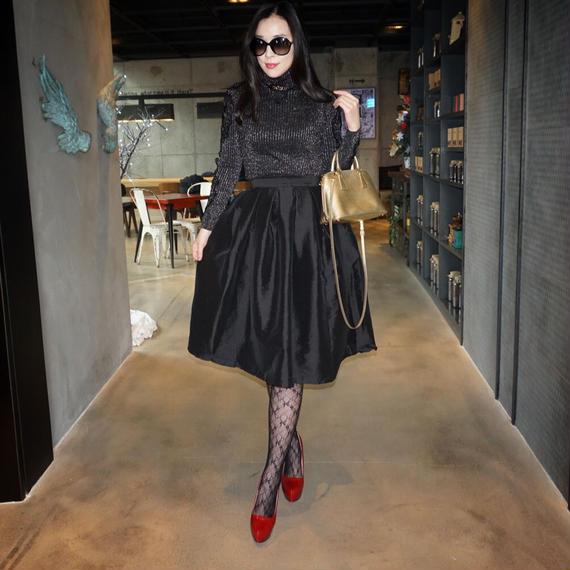 彩ある2018年!輝くドレススカート【ブラック】
