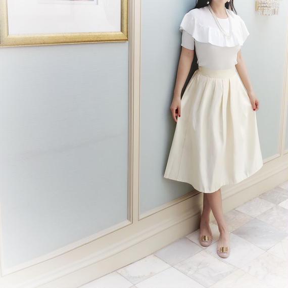 光沢ホワイトエレガントスカート【ウエストゴム】