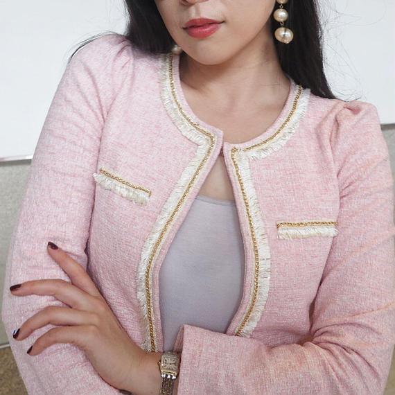貴婦人ツイードジャケット【ピンク】