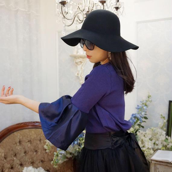 ★新色★光沢フレアスリーブトップス【パープルブルー】