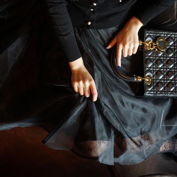 ★9月15日迄限定価格★ドレッシングオーガンジースカート【ウエストゴム】【二層仕立の高級感】