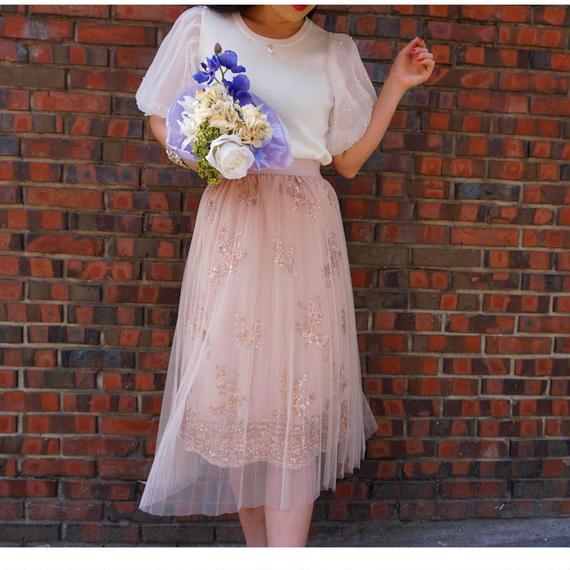 【4/25日迄限定価格】二層ビジューチュチュ風スカート【歩くたびにキラキラ輝く】SサイズからLLの方までオススメ♡