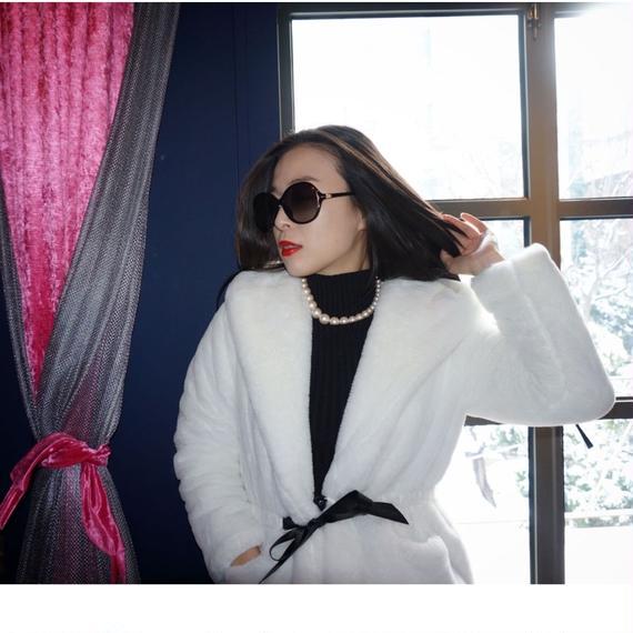 ザックリ女優チックな雪の女王コート【ブラック】