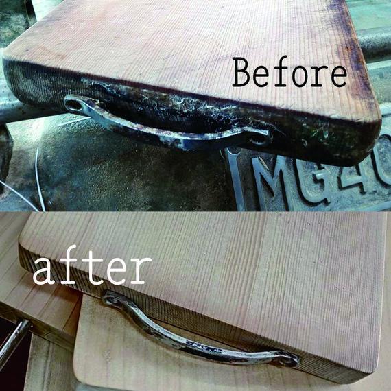 ハンドル付きまな板の削り直し