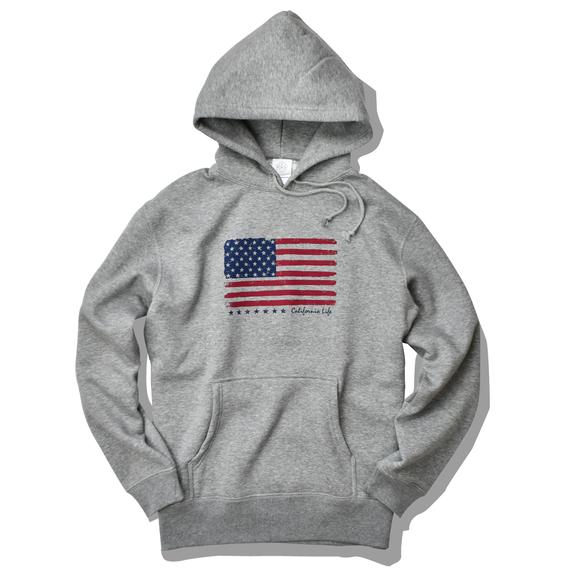 The American flag hooded sweatshirt【Gray】