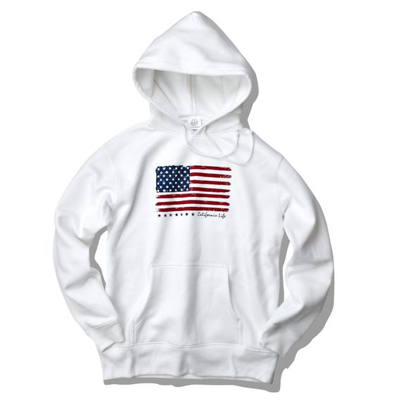 The American flag hooded sweatshirt【White】