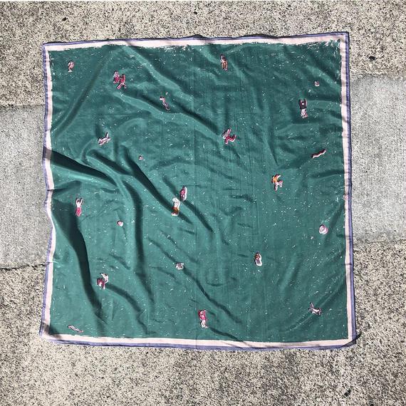 "print scarf ""Dance hall""(green)"